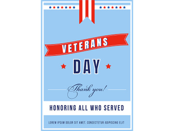 Veterans Day poster flat vector template preview picture