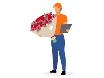 Courier with flowers flat vector character preview picture