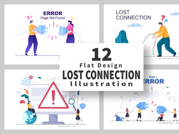 12 Lost Wireless Connection Vector Illustration preview picture