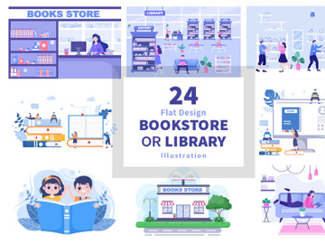 24 Bookstore or Library Illustration preview picture