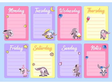 Cute donkeys weekly planner vector template with kawaii cartoon character preview picture