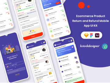 Ecommerce Product Return and Refund Mobile App UI Kit preview picture