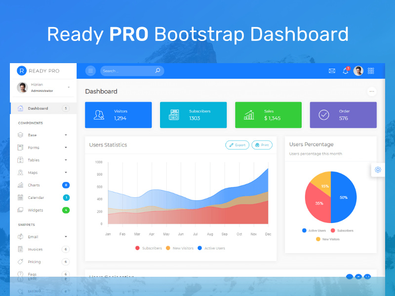 Ready Pro - Bootstrap 4 Admin Dashboard preview picture