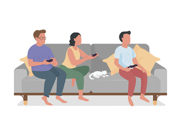 Parents and teen relaxing with video game semi flat color vector characters preview picture