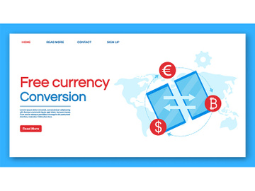 Free currency conversion landing page vector template preview picture