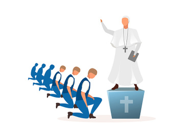 Theocracy political system metaphor flat vector illustration preview picture