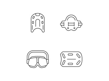 Swimming pool supplies linear icons set preview picture