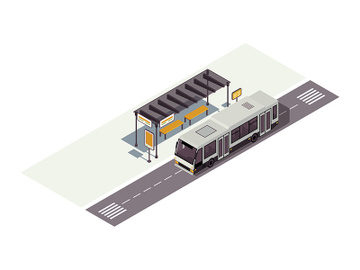 Bus stop isometric color vector illustration preview picture