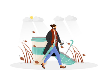 Man in coat go for walk flat concept vector illustration preview picture