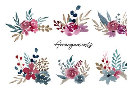 Navy & Burgundy Watercolor Set