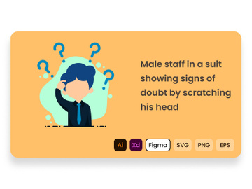 Male staff in a suit showing signs of doubt by scratching his head. preview picture