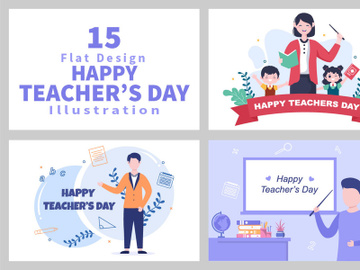 15 Happy Teacher's Day Background Vector Illustration preview picture
