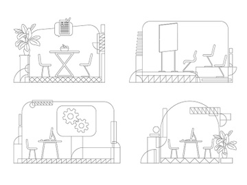 Company interior outline vector illustrations set preview picture