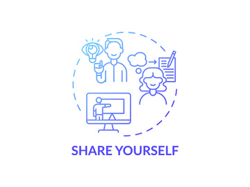 Share yourself blue gradient concept icon preview picture