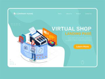 Virtual online shop - Landing Page Illustration template preview picture