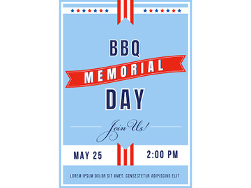 Memorial Day BBQ poster flat vector template preview picture