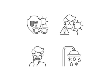 UV rays exposure risk linear icons set preview picture