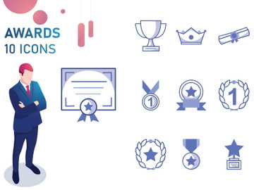 Bleu : Awards And Trophy Icon Set preview picture