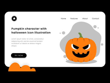 Pumpkin character with halloween greetings icon illustration. preview picture