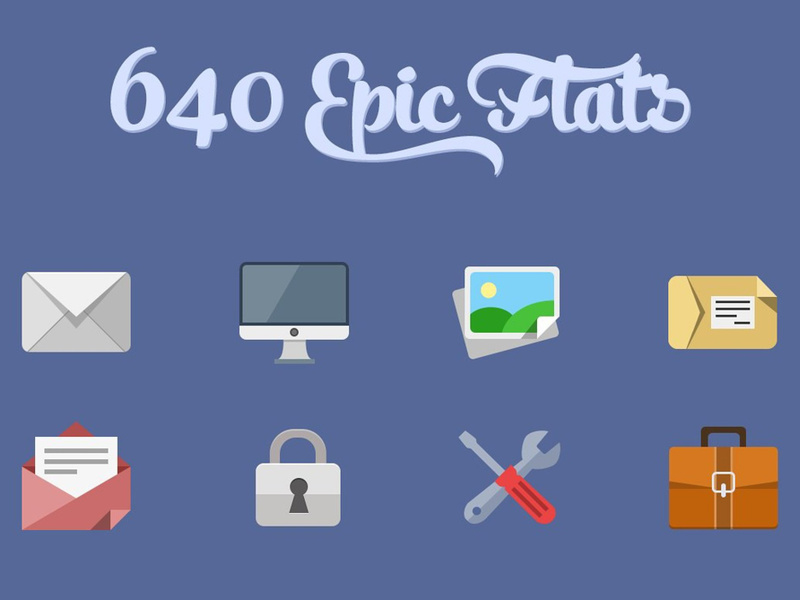 640 Flat icons+PixelDropr preview picture
