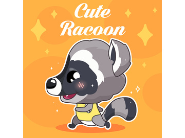 Cute raccoon kawaii character social media post mockup with lettering preview picture