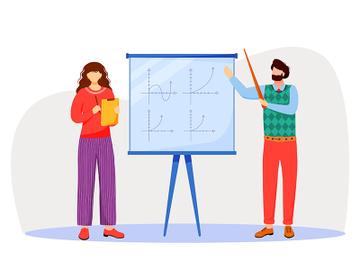 Teacher explains math graphs on whiteboard flat vector illustration preview picture