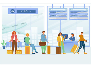 Check in airport zone flat vector illustration preview picture