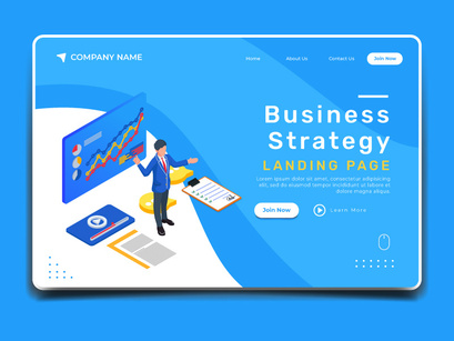 Business strategy illustration concept. Landing page template.