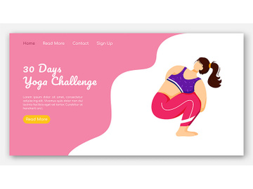 30 days yoga challenge landing page vector template preview picture