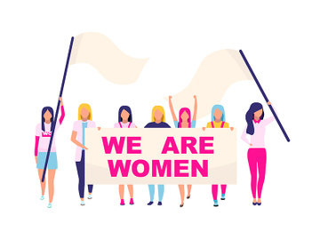 Supporting women movement flat concept vector illustration preview picture