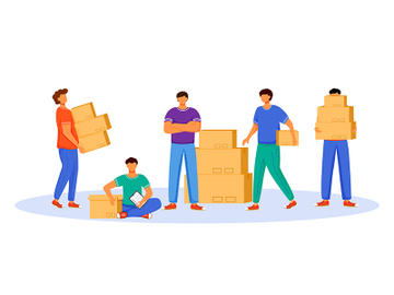 Post office male workers and loaders flat color vector illustration preview picture