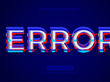 Error editable text effect vector template preview picture