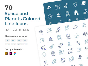 70 Space Colored Line Icons Pack preview picture