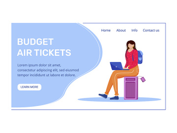 Budget air tickets landing page vector template preview picture