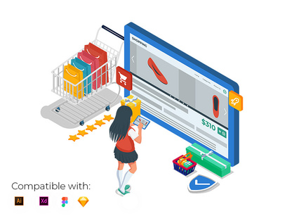 Girl with online store product interface at tablet device.