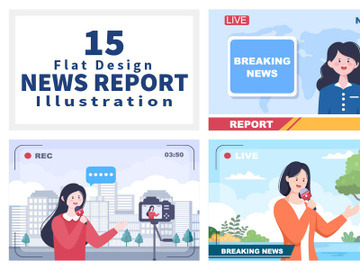 15 Breaking News Reporter Background Vector preview picture