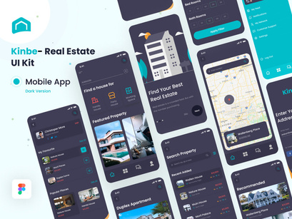 Kinbe - Real Estate Project App (Dark Version) UI Kit