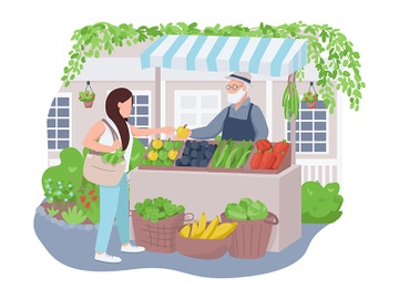 Vegetable market 2D vector web banner, poster preview picture