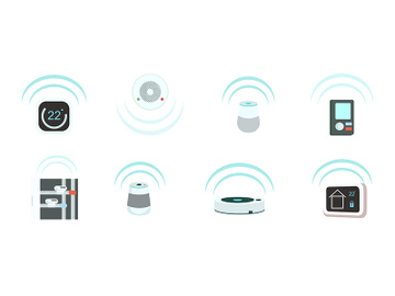 Smart devices flat color vector objects set preview picture