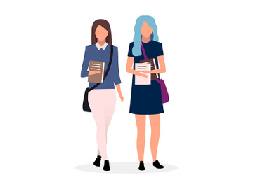 Teenage school friends flat vector illustration preview picture