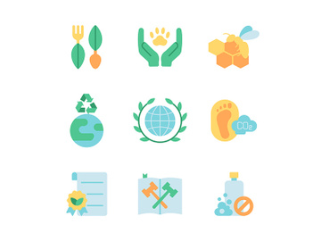 Ecology and green activism vector flat color icon set preview picture