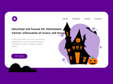 Haunted old house for halloween. vector silhouette of scary old house. preview picture
