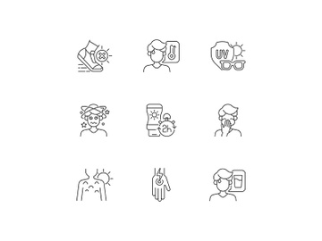 Sunstroke prevention linear icons set preview picture
