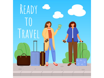 Ready to travel social media post mockup preview picture