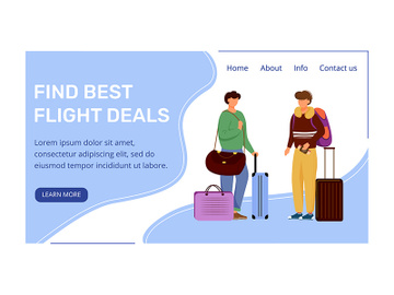Find best deals landing page vector template preview picture