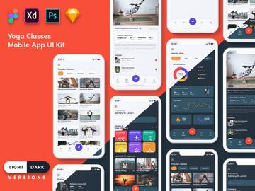 Yoga Class Mobile App UI (Light & Dark) preview picture