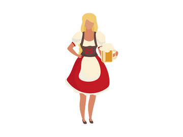 Beer girl wearing dirndl semi flat color vector character preview picture