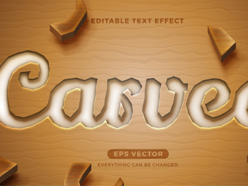 Carved editable text effect style vector preview picture