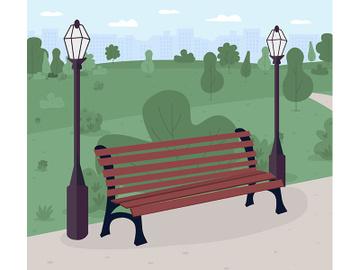 Park bench flat color vector illustration preview picture