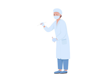 Lab worker takes blood sample semi flat color vector character preview picture